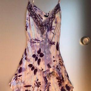 Silk Purple Print Slip Dress